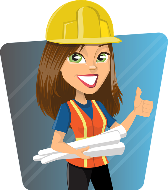 Picture of a working lady in a helmet