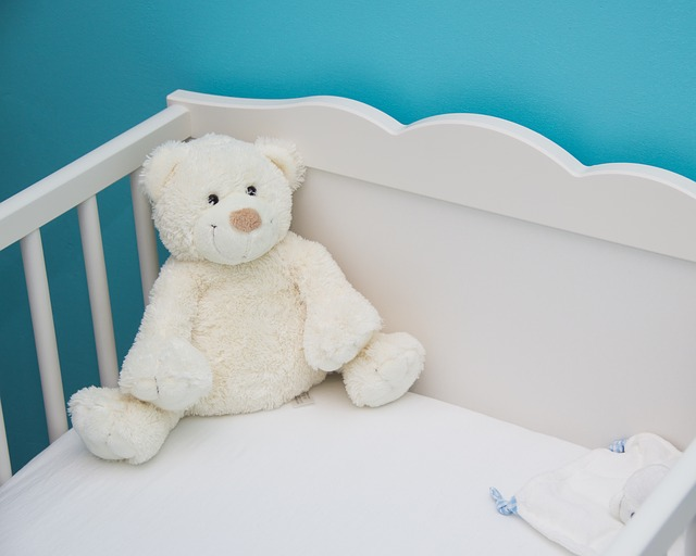 Photo of a baby crib and a teddy bear